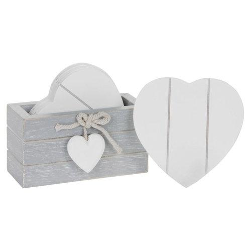 Provence Grey Set 6 White Heart Coasters Shabby Wood Chic Heart Detail