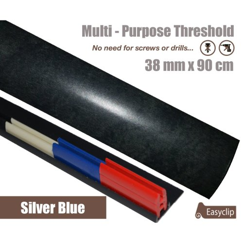 Silver Blue Multi Purpose Threshold Strip 38x90cm Adhesive Clip System
