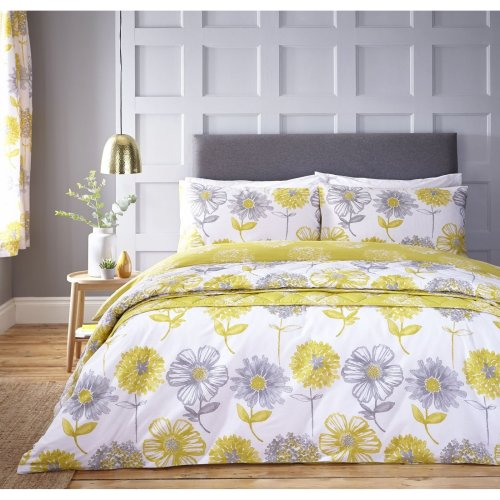 Catherine Lansfield Banbury Floral Easy Care Double Duvet Set Yellow