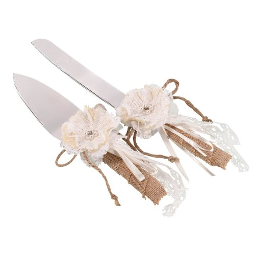 Burlap And Lace Knife And Cake Server