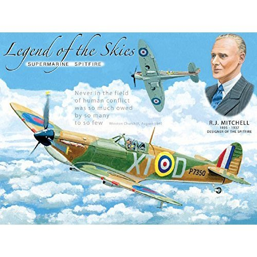 Small (150 x 200mm) Metal Sign Legend of the Skies  Spitfire  R J Mitchell