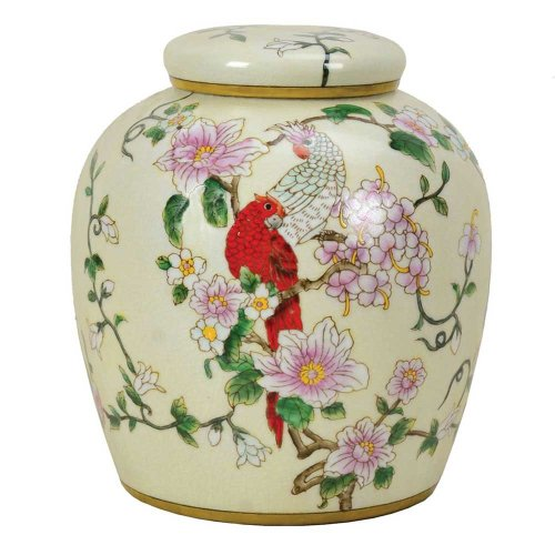 Chinese Crested Parrot Jar