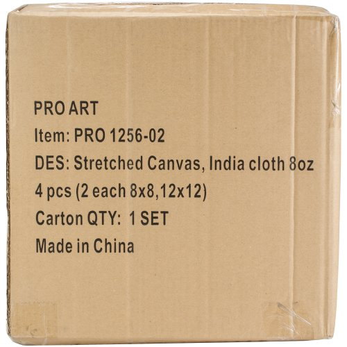 "Pro Art Nested Artist Canvas Set 4/Pkg-2 Each of 2 Sizes (8""X8"" & 12""X12"")"