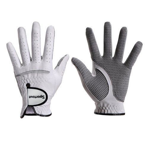 Men's Compression-Fit Stable-Grip Genuine Cabretta Leather Golf Glove, Super Soft, Flexible, Wear Resistant and Comfortable, S-XXXL,White (XL, Worn...