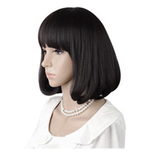 High Quality Fashion Sweet Lady Wig Short Hair Natural Bob Black +Wig Cap+Comb