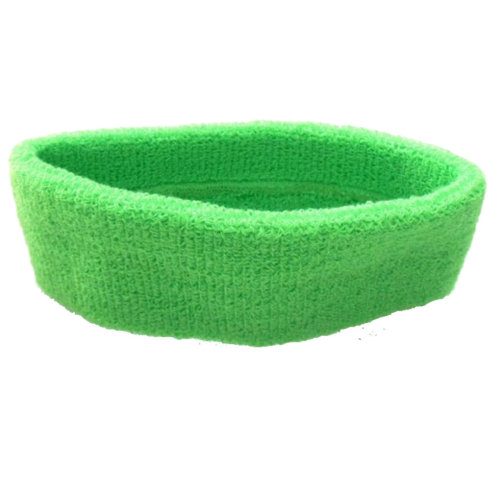 Sports Head Sweat Bands Headbands Unisex 80s Neon Green Fitness Sweatbands Gym On OnBuy