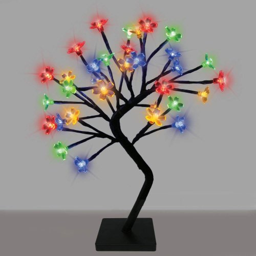 Sentik Decorative Cherry Blossom Bonsai Style Tree Table Lamp Light with 32 Glorious LED's - 45cm (Multi)