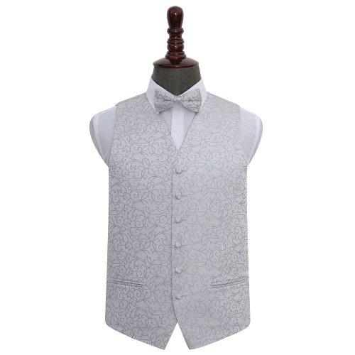 Silver Swirl Wedding Waistcoat & Bow Tie Set 42'
