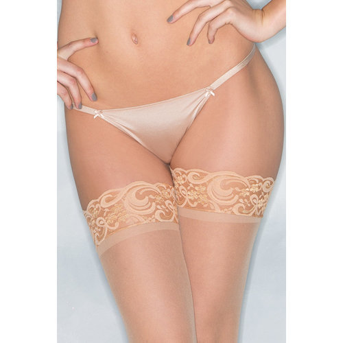 Basic Thong With Bows - Nude Small Ladies Lingerie Thongs - Be Wicked