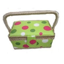 Rectangular Lime Spot Fabric Sewing Box 22x14x12cm