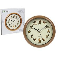 Singing Birds Wood Wall Clock With 12 Domestic Birds Original Field Recordings -  up mirror led bulbs make light dressing table hollywood vanity