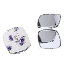 One Portable Princess Mirror Vanity Mirror Little Makeup Mirror 6.5x6.5x1CM (Violet)