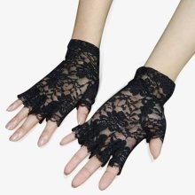Trixes Black French Maid Fingerless Lace Gloves
