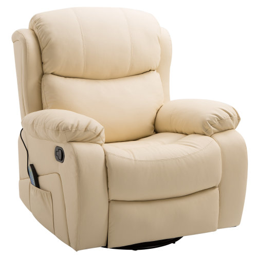 HOMCOM PU Leather Recliner Sofa Massage Chair Swivel Heated Rocking Gaming Swivel Chair Nursing Cinema Seat with Remote Contro (Beige)