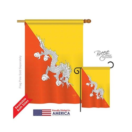 Breeze Decor 08274 Bhutan 2-Sided Vertical Impression House Flag - 28 x 40 in.