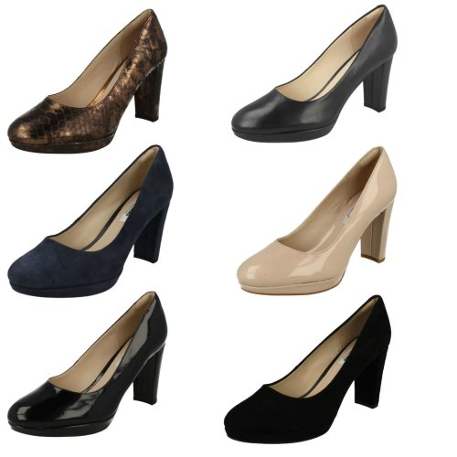 Ladies Clarks High Heeled Fashion Shoes Kendra Sienna - D Fit