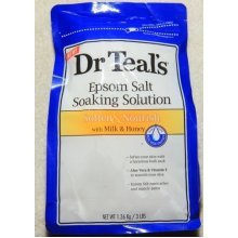 Dr. Teals Epsom Salt Soaking Solution, Soften & Nourish with Milk and Honey, 48oz