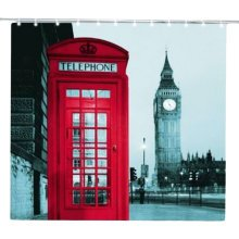 Red Telephone Waterproof Shower Curtains Creative Door Curtains