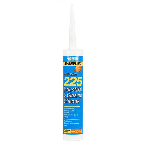 Everbuild 225 Industrial And Glazing Silicone White C3 Tube