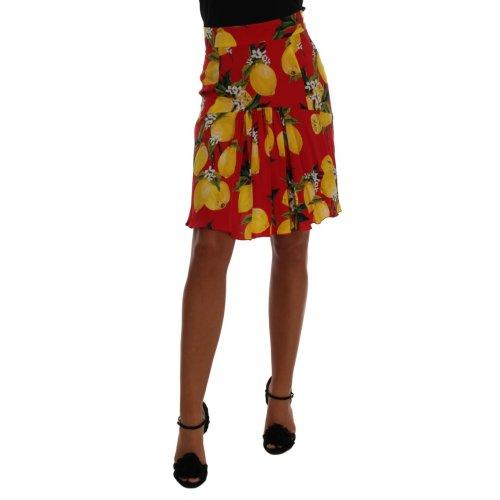 Dolce & Gabbana Red Lemon Print Pleated Skirt