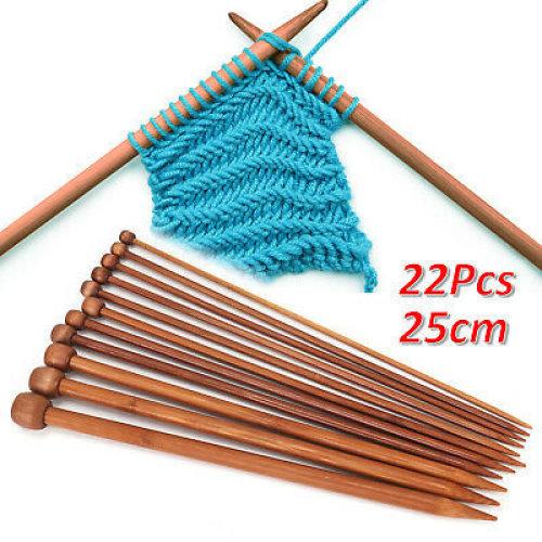 Bamboo Knitting Needles Set Bag Carbonized Bamboo Knitting Needles Wooden Single