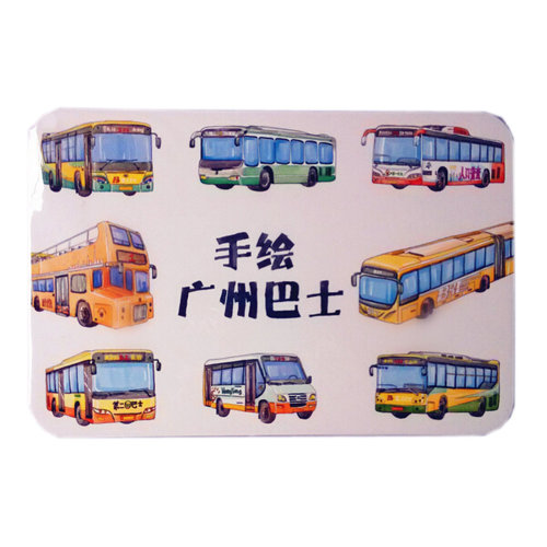 [GuanZhou Buses]10PC Hand Painted Creative Post Cards Colorful Greeting Cards