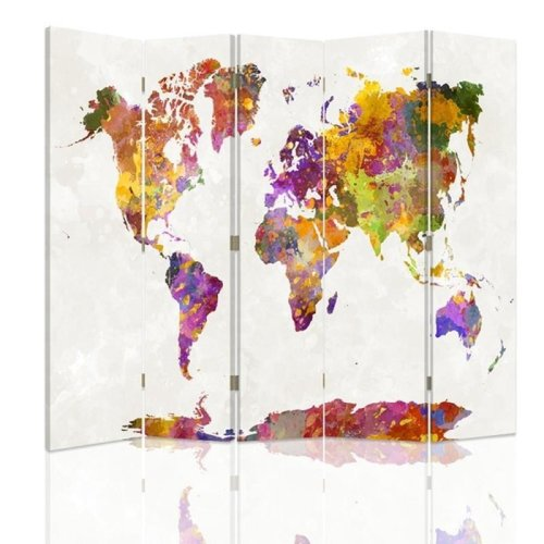 Multi Coloured Map Screen/Room Divider