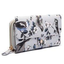 Miss Lulu Grey Flower Bird Purse Wallet Matte Oilcloth Clutch Bag