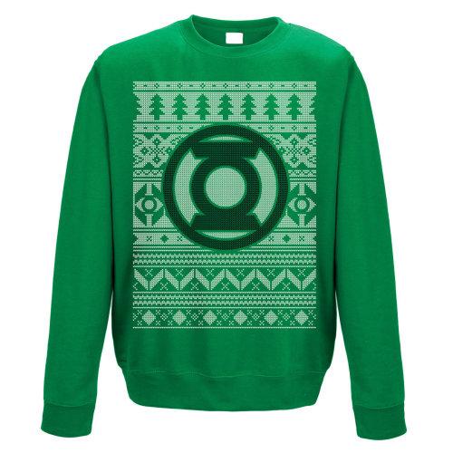 XXL Adult's Green Lantern Christmas Jumper -  green lantern crewneck sweatshirt fair isle logo jumper xxl dc comics mens christmas sweater