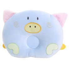 Adorable Soft Anti-roll Pillow Prevent Flat Head-Lovely Pig,Blue