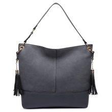Miss Lulu Women Frosted Leather Shoulder Handbag Tassel Slouch Hobo Handbag Bag