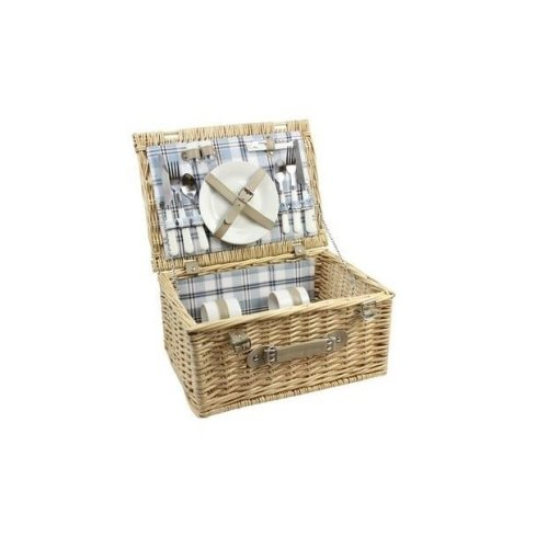 Wicker Picnic Basket Willow Hamper With Cutlery Cups Plates For 2 Person Strong Handle