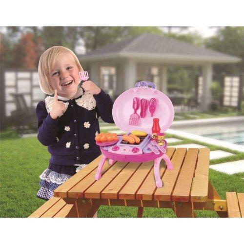 Vinsani 15 PC Light & Sound Pink Children Kids Indoor Outdoor Summer Garden BBQ Barbecue Pretend Portable Play Set