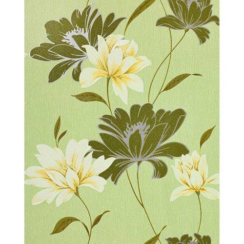 EDEM 168-35 vinyl wallpaper floral design flowers moss green yellow | 5.33 sqm
