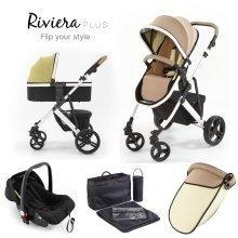 Tutti Bambini Riviera Plus 3 in 1 White Travel System - Taupe/pistachio