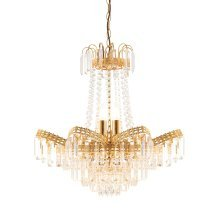 Elegant Chandelier With Clear Beads And Droplets