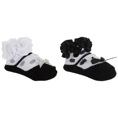 Baby Girls Monochrome Frilly Socks With Bow (One Pair)