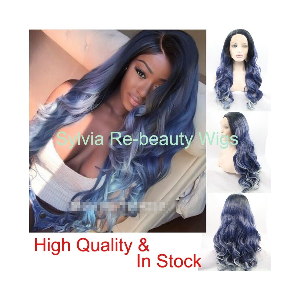Natural Dark Blue To Blonde Tips 3t Ombre Body Wave Wigs With Black