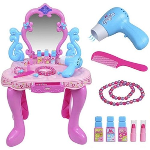 GIRLS PINK VANITY TABLE CHILDRENS KIDS DRESSING MIRROR MAKE UP DESK TOY PLAY SET