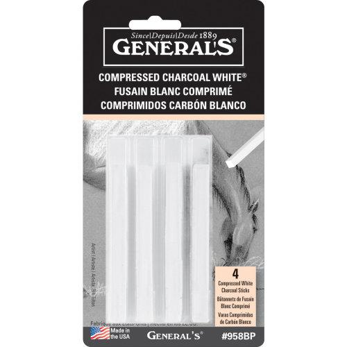 Compressed Charcoal Sticks 4/Pkg-White - 2B, 4B & 6B