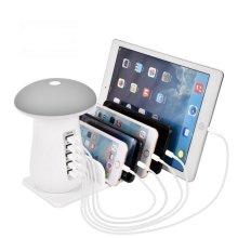 5 Port USB Charging Station Mushroom LED Lamp 3.0 Quick Fast Charge