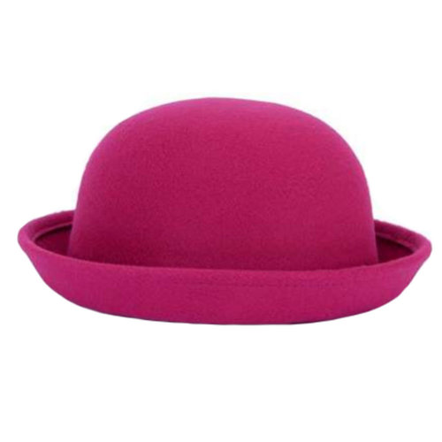 Ladies Elegant Hat Winter Cap Bowler Hat Fedora Hats, Rose Red