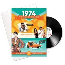 44th Anniversary or Birthday gifts ~ Booklet , Music & Card; 1974 in one present