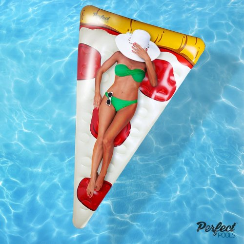 Official 'Perfect Pools' Inflatable Giant Pizza Slice Float | Swimming Pool Float 178cm