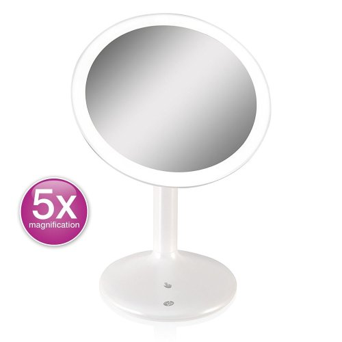 Rio Make-Up Mirror 5x Magnifying Touch Sense, LED Illuminated & USB Rechargeable