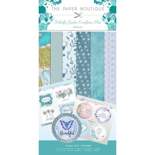 "Butterfly Garden Paper & Topper Kit 8""X8"" 44/Pkg-Butterfly Garden, Cornflower Blue"