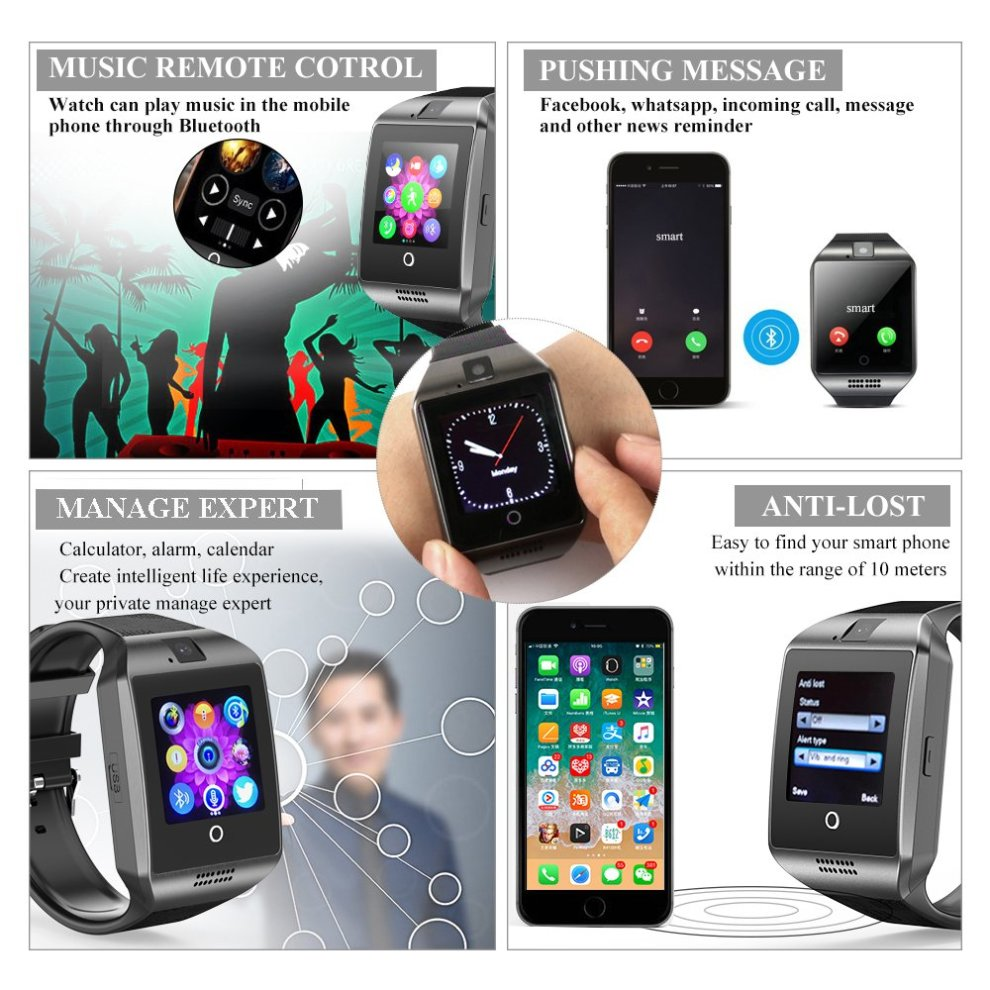 Bluetooth Smart Watch Q18 Support Sleep Monitor Pedometer Sweatproof  Touchscreen Smartwatches SHFY with Camera Compatible with iOS iPhone  Android