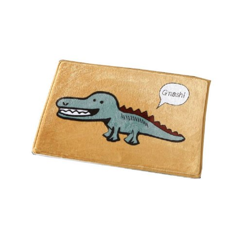 Cartoon Crocodile Boys Rug Yellow Flannel Rug for Kids Bedroom
