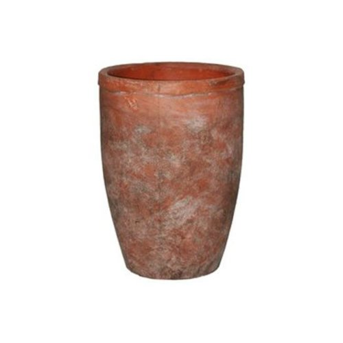 Ceramic Round Flower Pot with Wide Mouth & Tapered Bottom, Vermilion