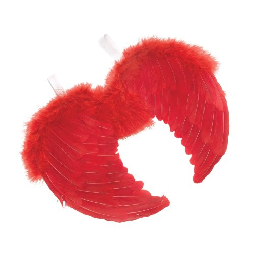 Red Feathered Angel Wings -  wings red fancy dress angel feather mini devil black white halloween party ANGEL KIT WINGS MINI RED FEATHER COSTUME
